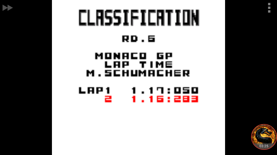 omargeddon: F-1 World Grand Prix: Time Trials: Rookie: Track 06 Monaco GP [Best Lap] (Game Boy Color Emulated) 0:01:16.283 points on 2018-09-11 00:04:58