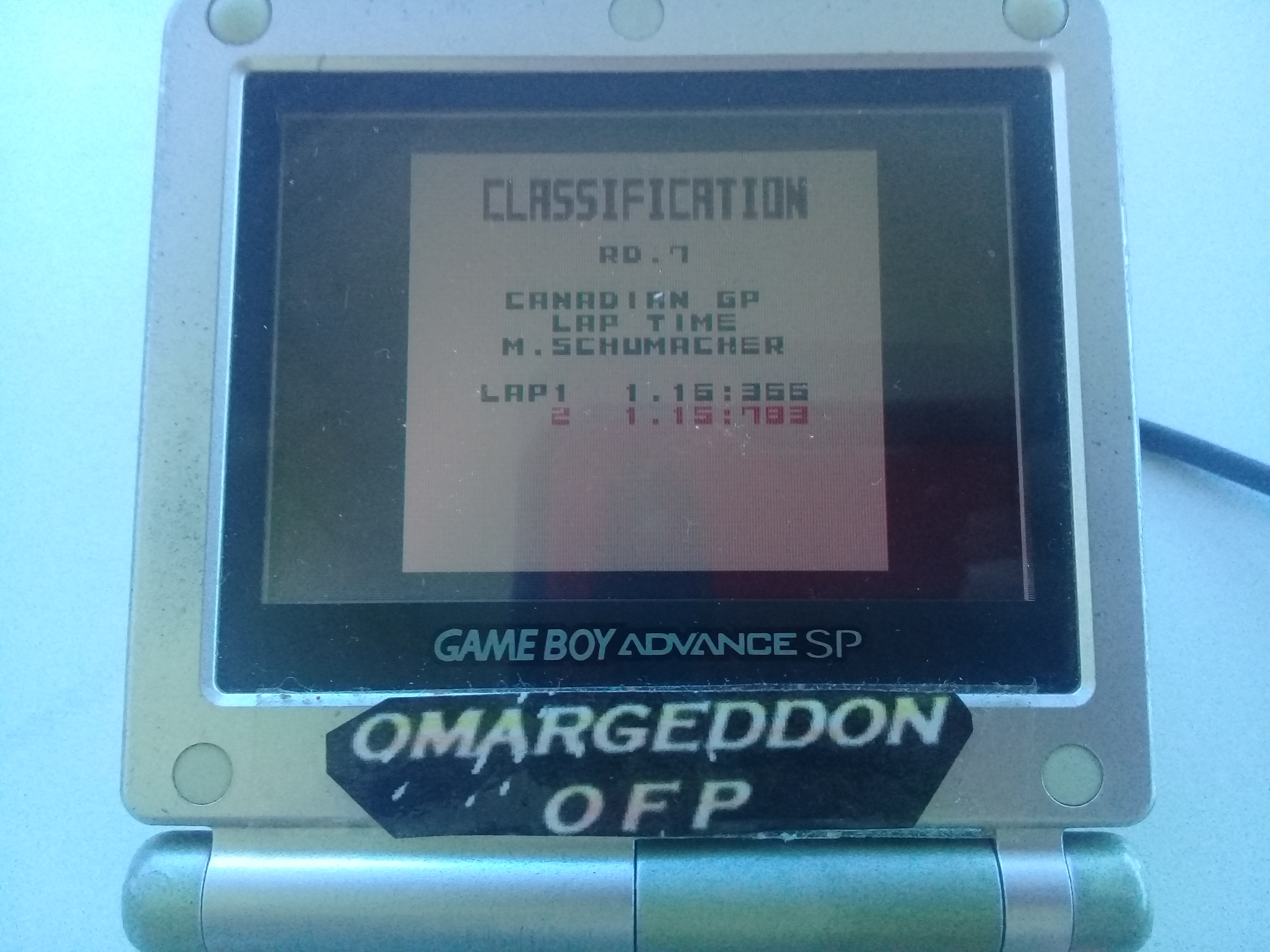 omargeddon: F-1 World Grand Prix: Time Trials: Rookie: Track 07 Canadian GP [Best Lap] (Game Boy Color) 0:01:15.783 points on 2019-04-20 15:46:32