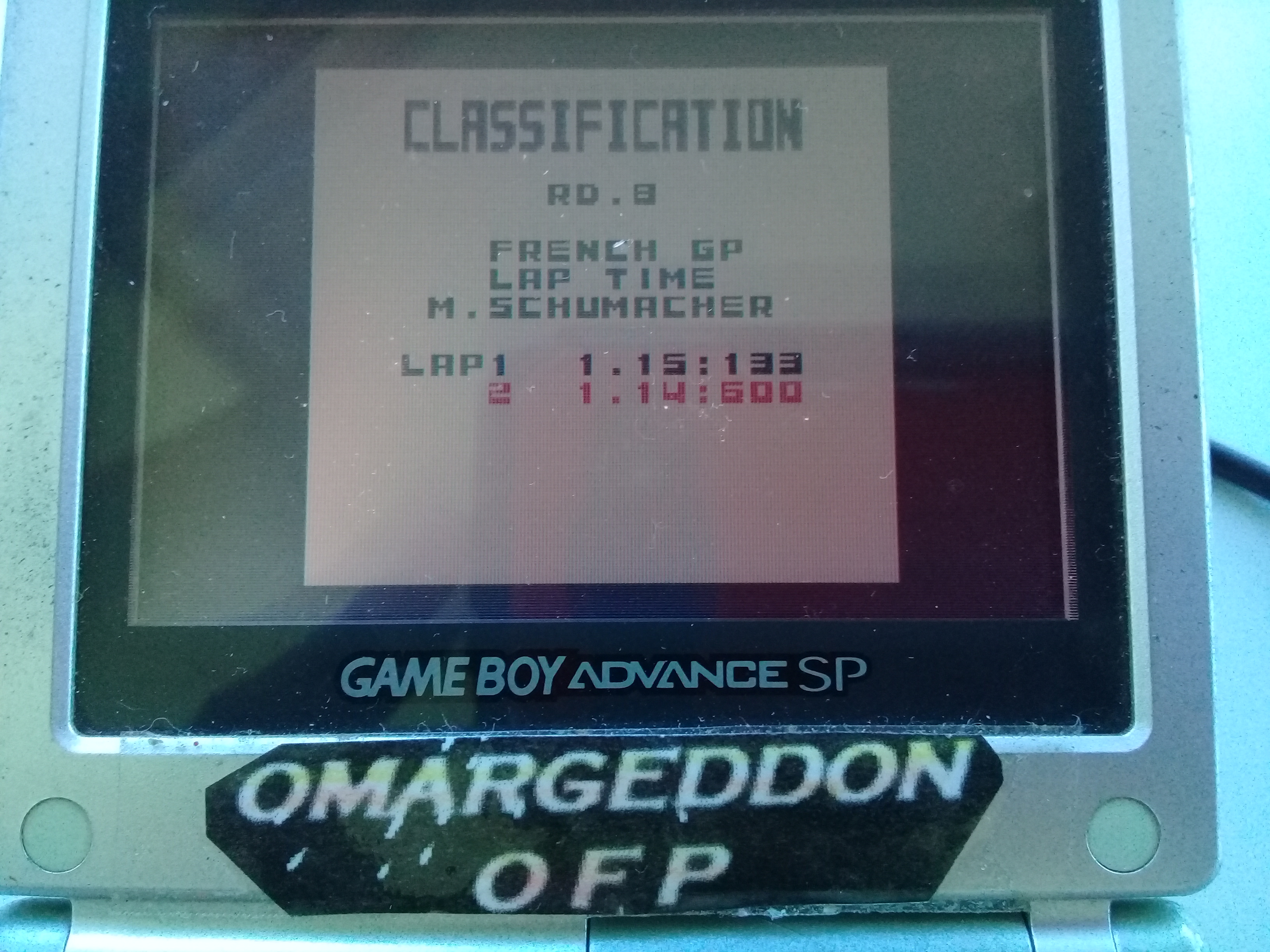 omargeddon: F-1 World Grand Prix: Time Trials: Rookie: Track 08 French GP [Best Lap] (Game Boy Color) 0:01:14.6 points on 2019-04-20 15:45:24