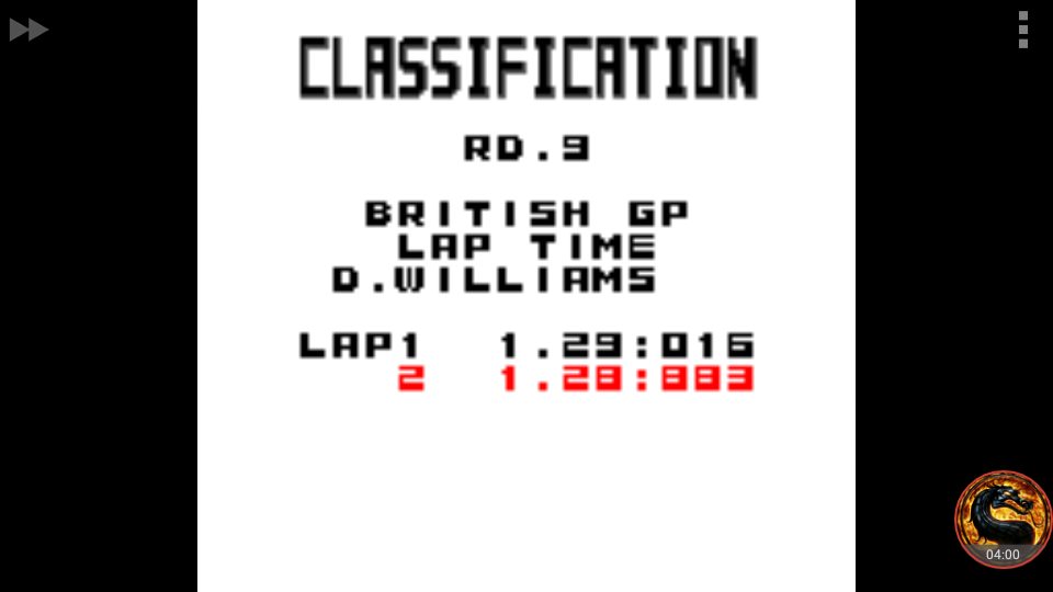 omargeddon: F-1 World Grand Prix: Time Trials: Rookie: Track 09 British GP [Best Lap] (Game Boy Color Emulated) 0:01:28.883 points on 2018-09-14 19:52:33