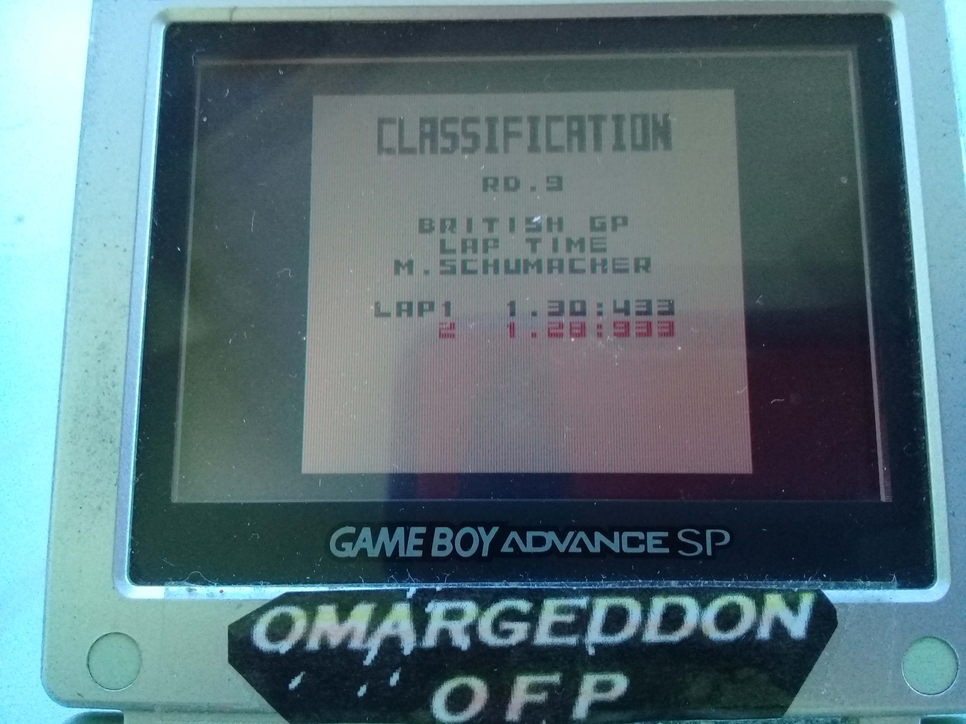omargeddon: F-1 World Grand Prix: Time Trials: Rookie: Track 09 British GP [Best Lap] (Game Boy Color) 0:01:28.933 points on 2019-04-20 15:48:30
