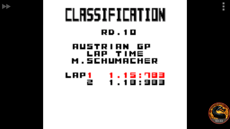 omargeddon: F-1 World Grand Prix: Time Trials: Rookie: Track 10 Austrian GP [Best Lap] (Game Boy Color Emulated) 0:01:15.783 points on 2018-09-14 19:56:32