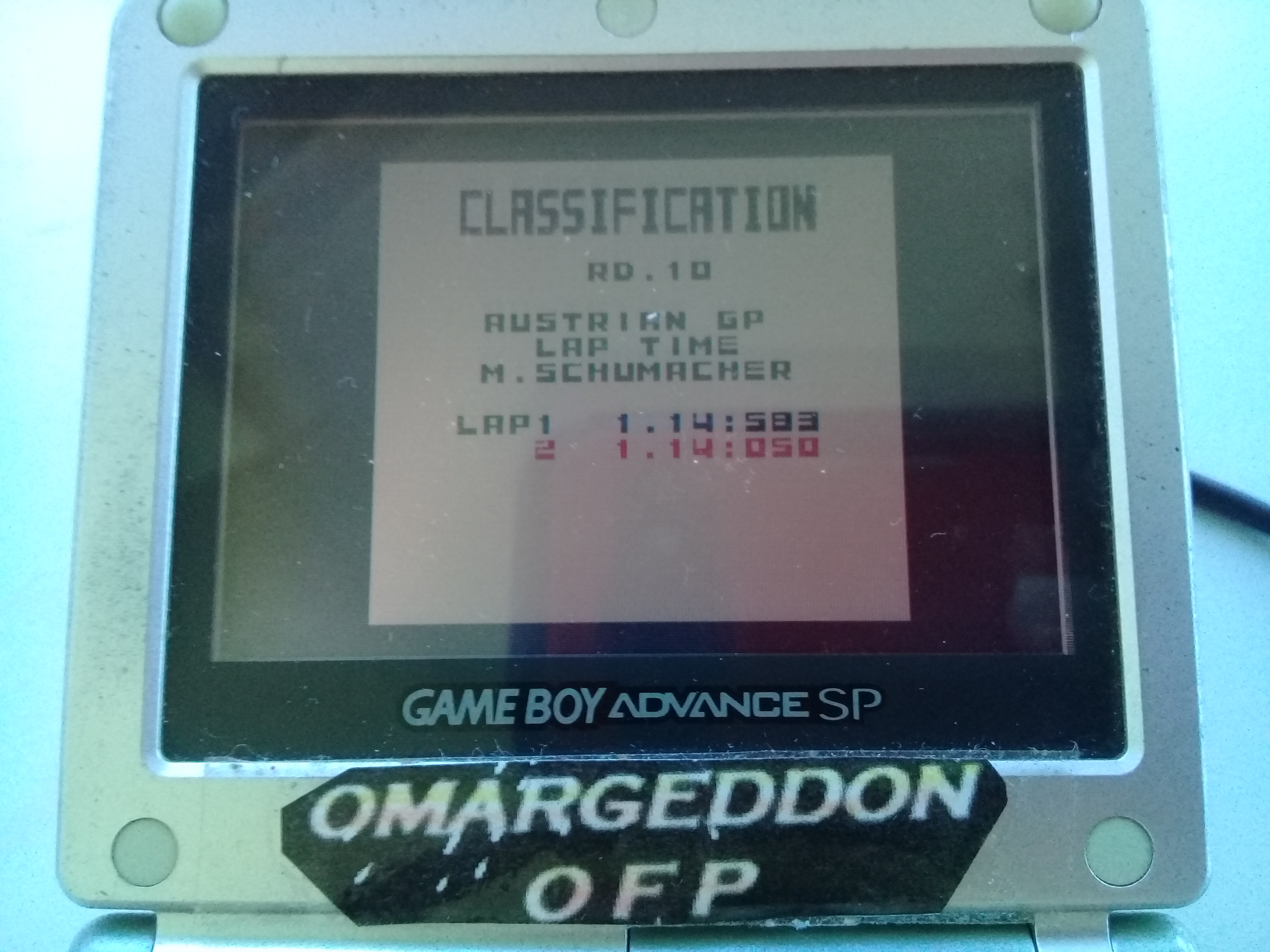 omargeddon: F-1 World Grand Prix: Time Trials: Rookie: Track 10 Austrian GP [Best Lap] (Game Boy Color) 0:01:14.05 points on 2019-04-20 15:49:29