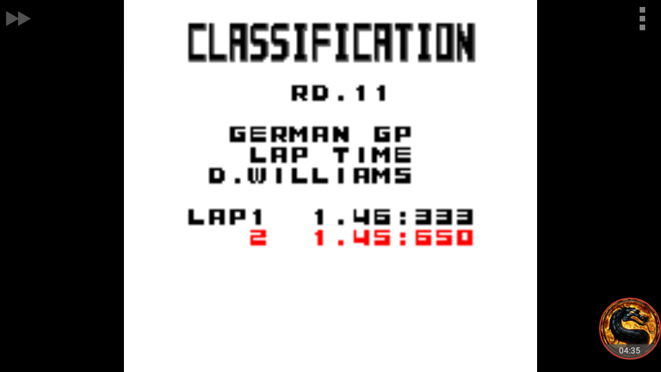 omargeddon: F-1 World Grand Prix: Time Trials: Rookie: Track 11 German GP [Best Lap] (Game Boy Color Emulated) 0:01:45.65 points on 2018-09-23 12:02:47