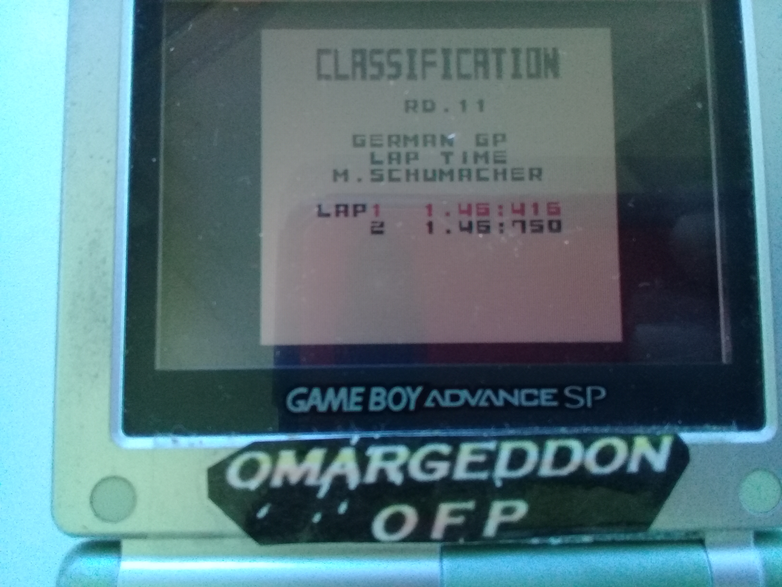 omargeddon: F-1 World Grand Prix: Time Trials: Rookie: Track 11 German GP [Best Lap] (Game Boy Color) 0:01:46.416 points on 2019-04-20 15:50:42
