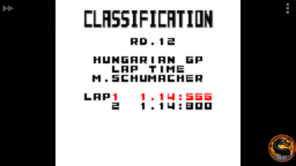 omargeddon: F-1 World Grand Prix: Time Trials: Rookie: Track 12 Hungarian GP [Best Lap] (Game Boy Color Emulated) 0:01:14.566 points on 2018-09-29 15:39:46