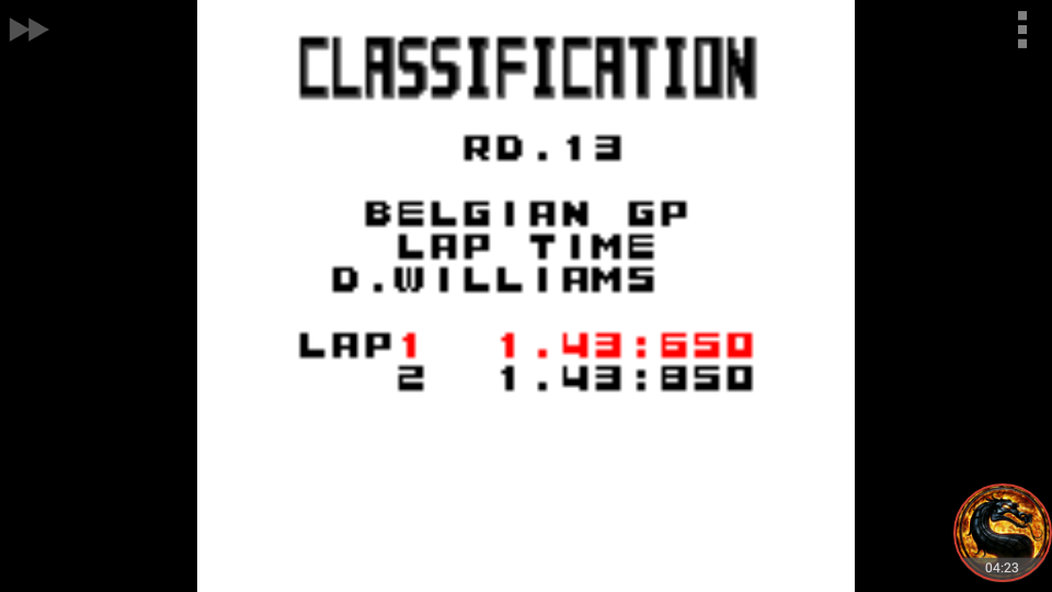 omargeddon: F-1 World Grand Prix: Time Trials: Rookie: Track 13 Belgian GP [Best Lap] (Game Boy Color Emulated) 0:01:43.65 points on 2018-09-29 15:40:47