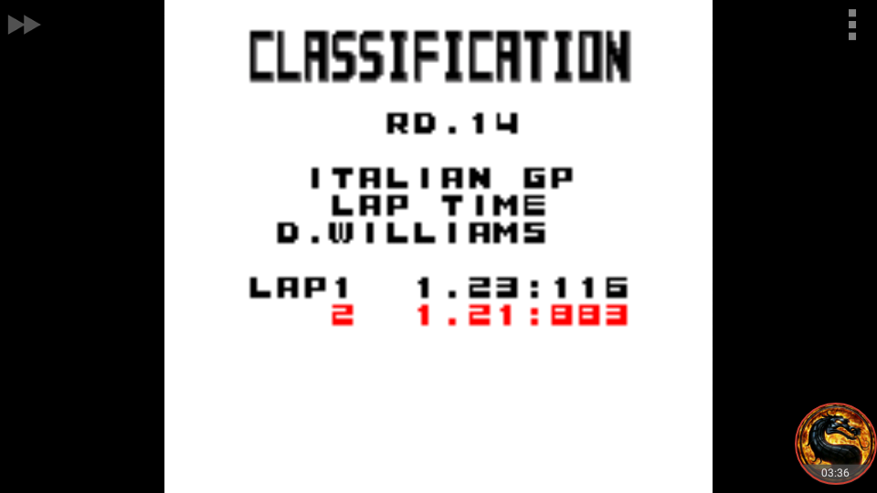 omargeddon: F-1 World Grand Prix: Time Trials: Rookie: Track 14 Italian GP [Best Lap] (Game Boy Color Emulated) 0:01:21.883 points on 2018-09-29 15:41:31