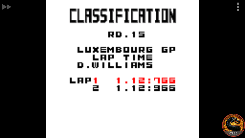 omargeddon: F-1 World Grand Prix: Time Trials: Rookie: Track 15 Luxembourg GP [Best Lap] (Game Boy Color Emulated) 0:01:12.766 points on 2018-10-02 13:27:57