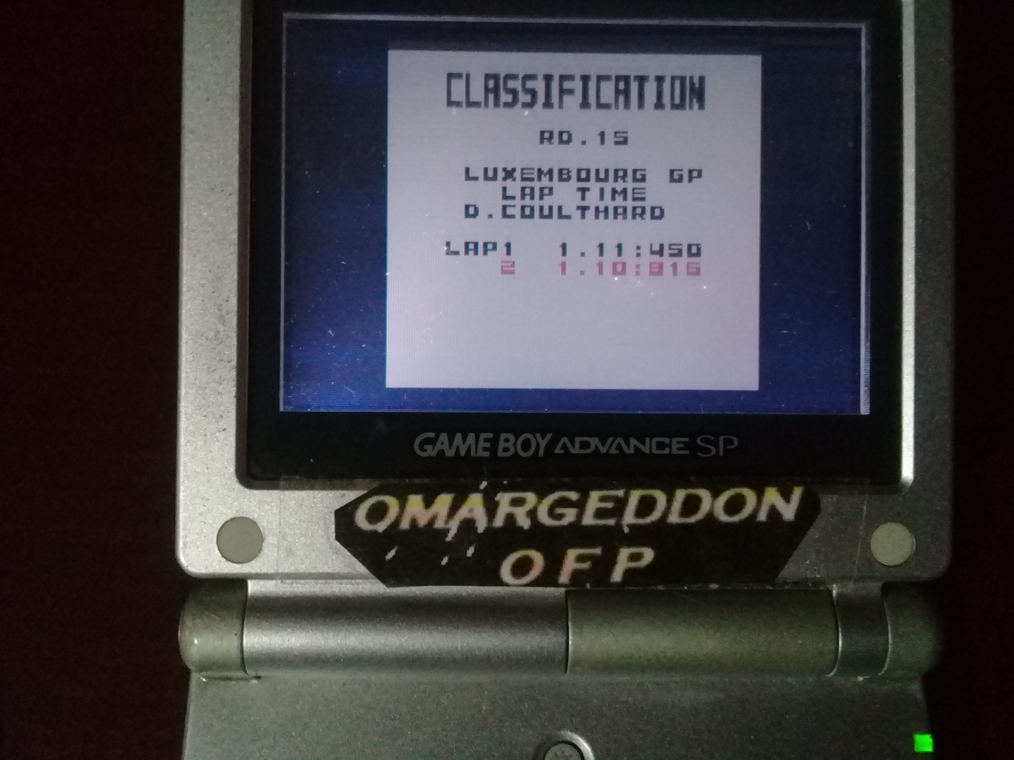 omargeddon: F-1 World Grand Prix: Time Trials: Rookie: Track 15 Luxembourg GP [Best Lap] (Game Boy Color) 0:01:10.815 points on 2019-05-24 10:19:38