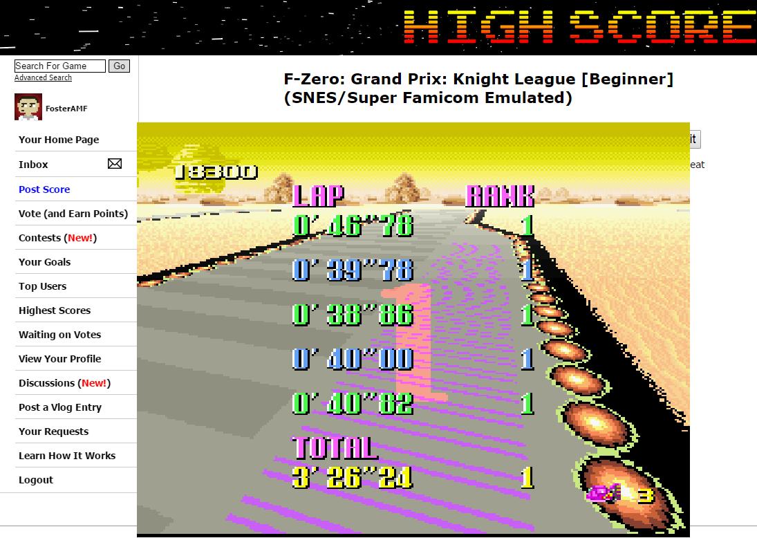 FosterAMF: F-Zero: Grand Prix: Knight League [Beginner] (SNES/Super Famicom Emulated) 30,500 points on 2015-07-04 01:15:02