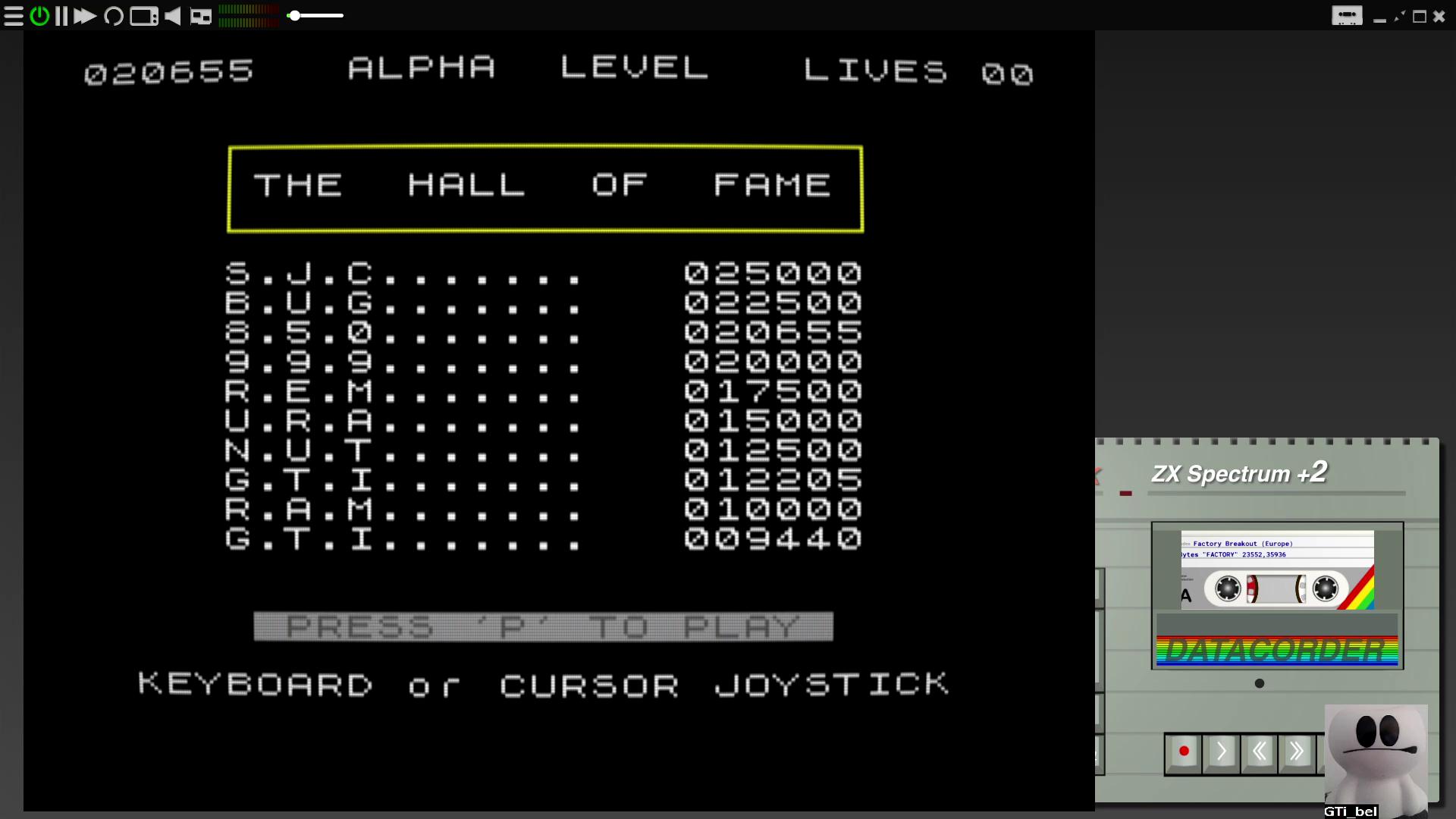 GTibel: Factory Breakout (ZX Spectrum Emulated) 20,655 points on 2020-07-31 04:33:49