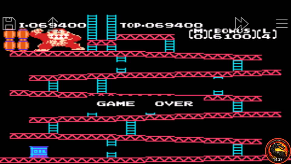 omargeddon: Famicom Mini: Vol. 2: Donkey Kong [Game A] (GBA Emulated) 69,400 points on 2020-06-27 20:19:27