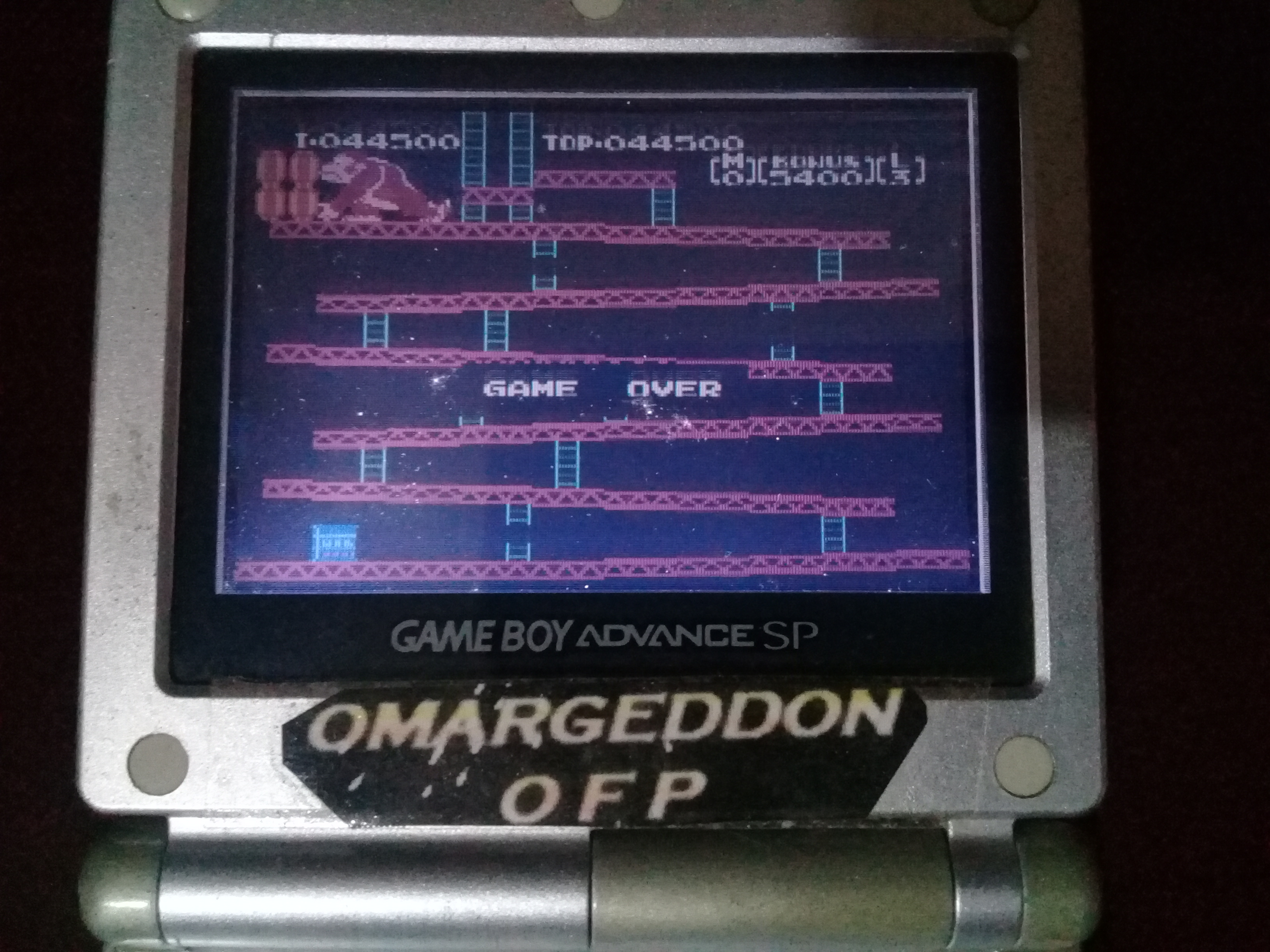 omargeddon: Famicom Mini: Vol. 2: Donkey Kong [Game B] (GBA) 44,500 points on 2020-07-12 13:12:26