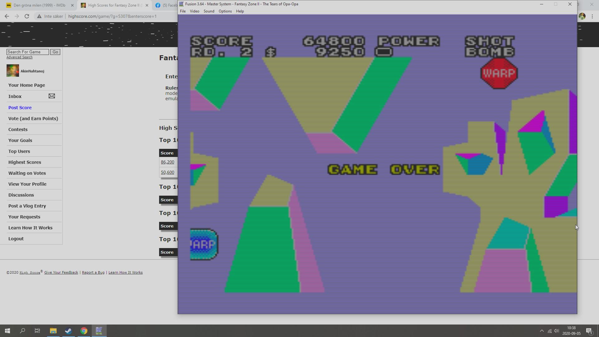 AkinNahtanoj: Fantasy Zone II (Sega Master System Emulated) 64,800 points on 2020-09-06 08:49:19