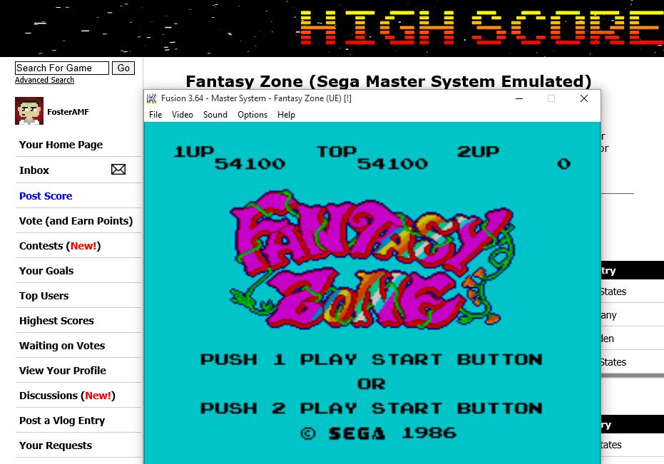 FosterAMF: Fantasy Zone (Sega Master System Emulated) 54,100 points on 2015-08-02 20:29:25