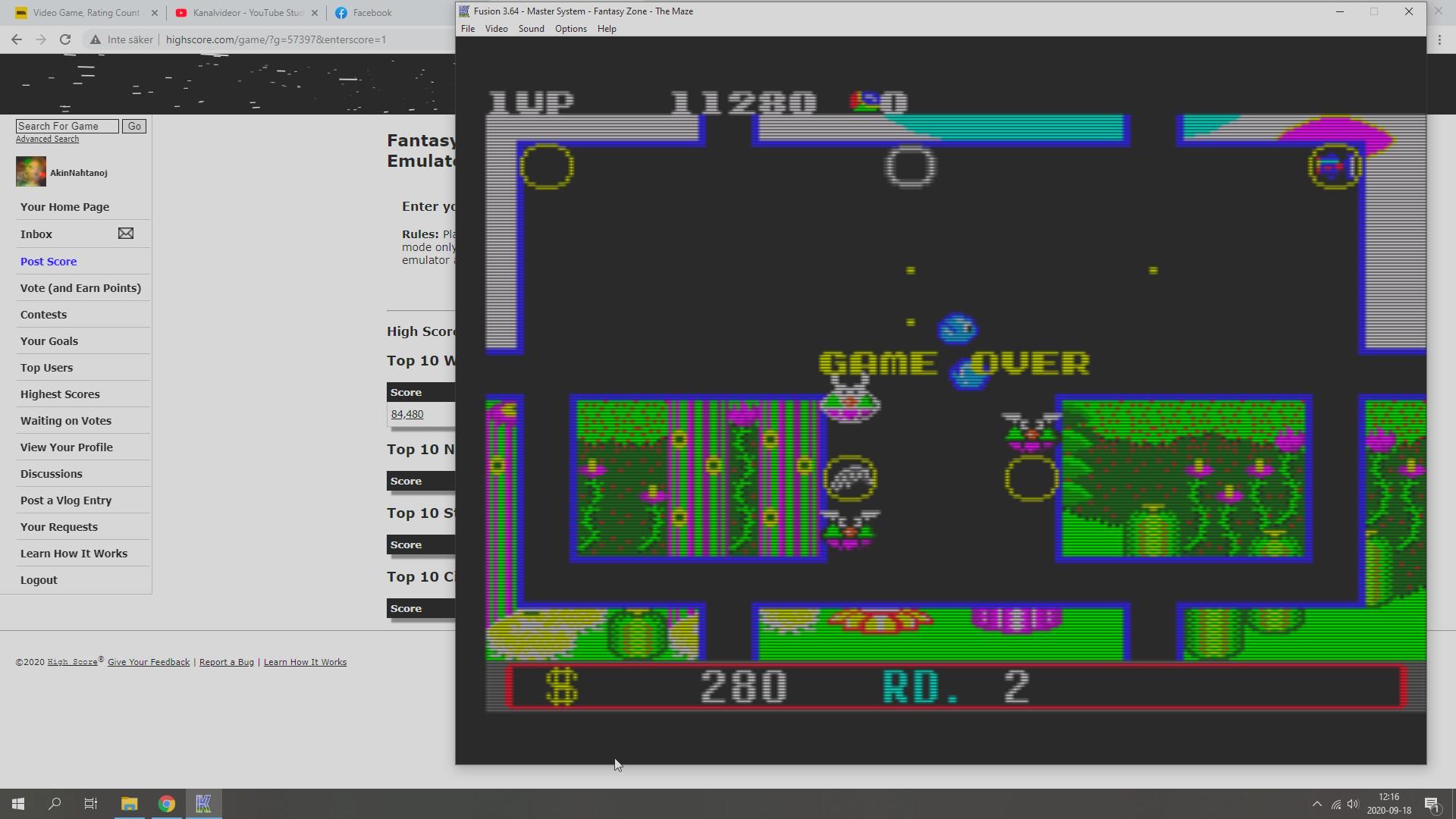AkinNahtanoj: Fantasy Zone: The Maze (Sega Master System Emulated) 11,280 points on 2020-09-18 05:35:37