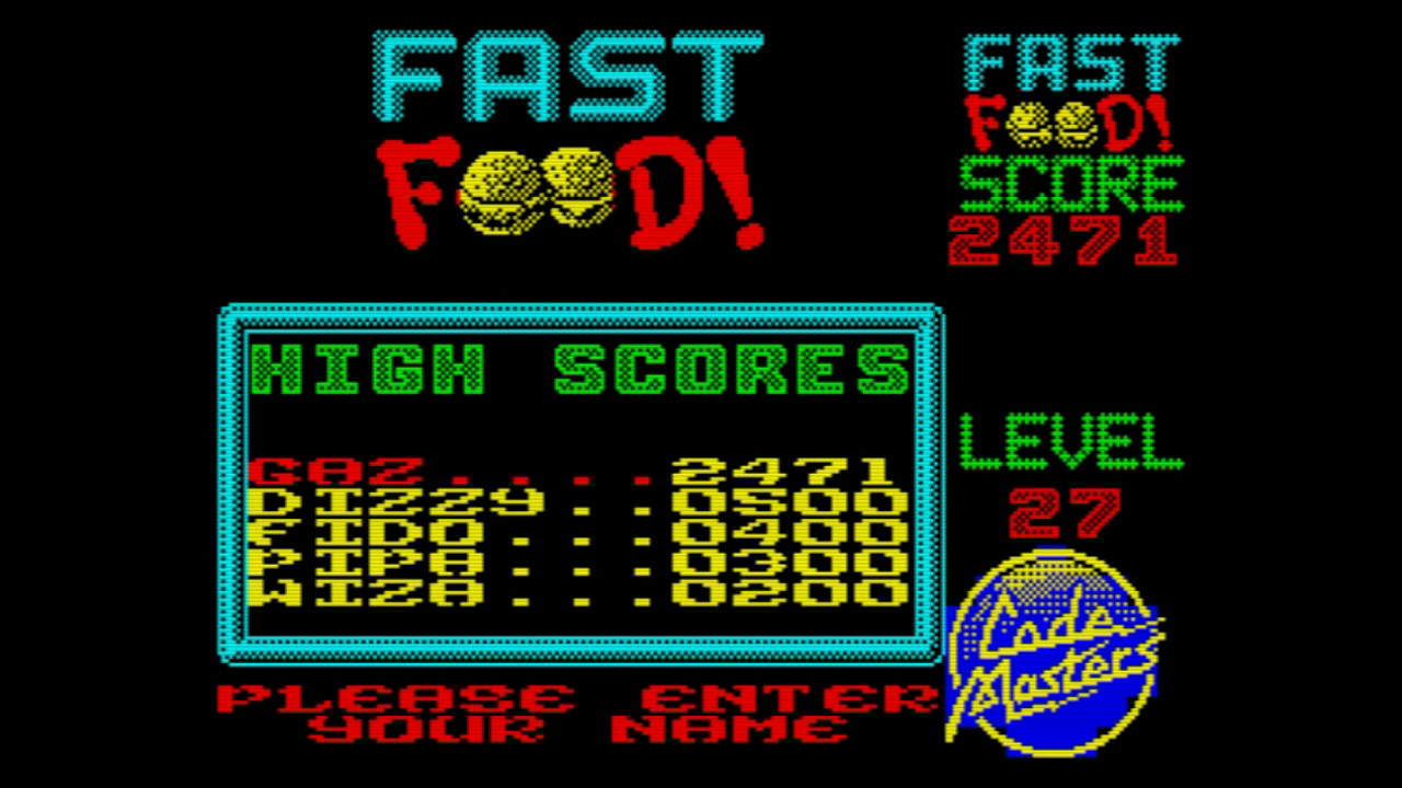 gazzhally: Fast Food (ZX Spectrum Emulated) 2,471 points on 2019-06-29 06:34:51