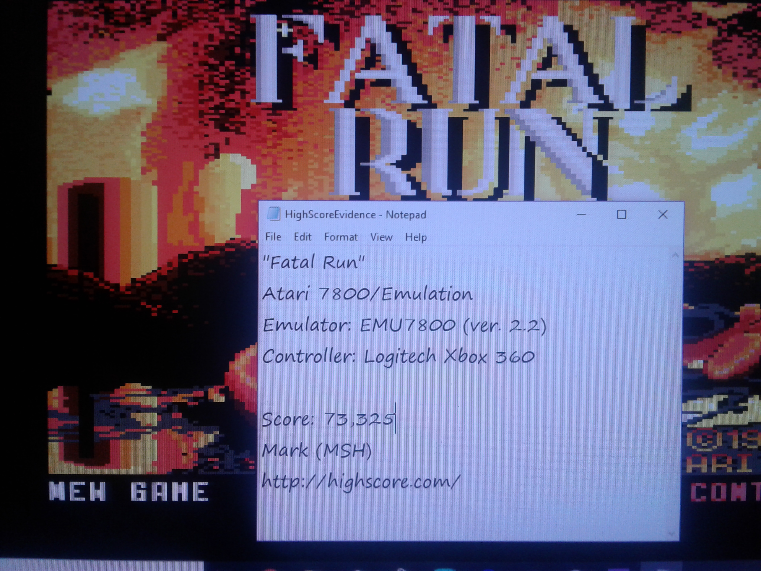 Mark: Fatal Run (Atari 7800 Emulated) 73,325 points on 2019-02-14 02:14:32