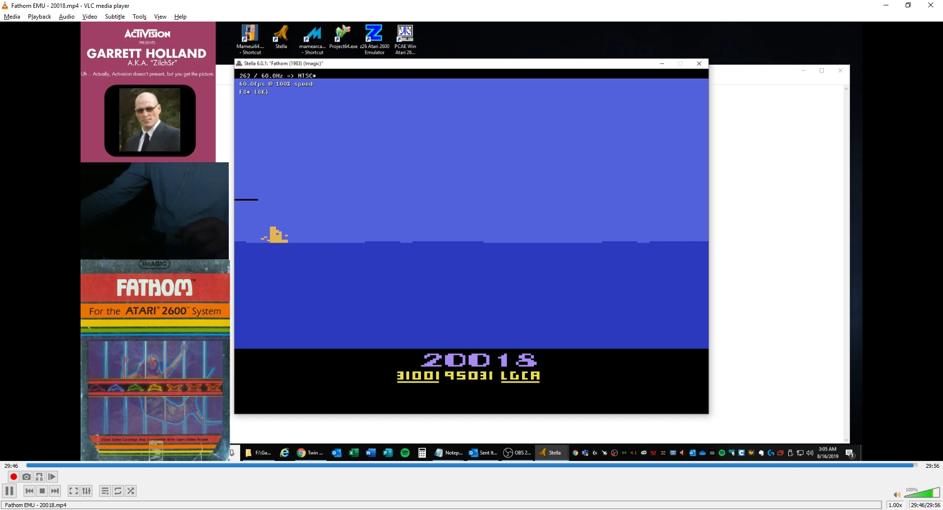 ZilchSr: Fathom (Atari 2600 Emulated) 20,018 points on 2019-08-16 15:59:00