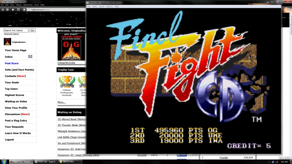 OriginalGamer: Final Fight CD (Sega Genesis / MegaDrive Emulated) 495,960 points on 2016-07-13 17:12:07