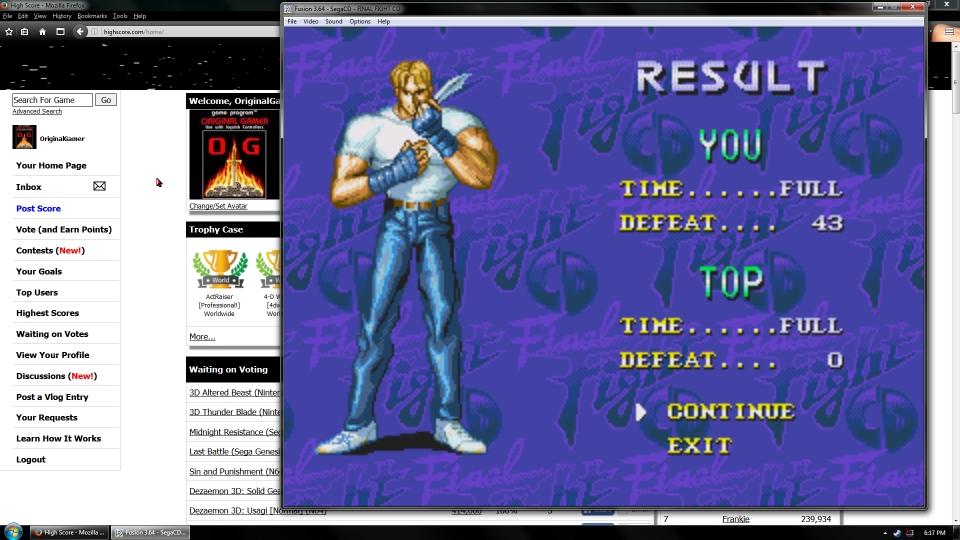 OriginalGamer: Final Fight CD [Time Attack] (Sega Genesis / MegaDrive Emulated) 43 points on 2016-07-13 17:13:21