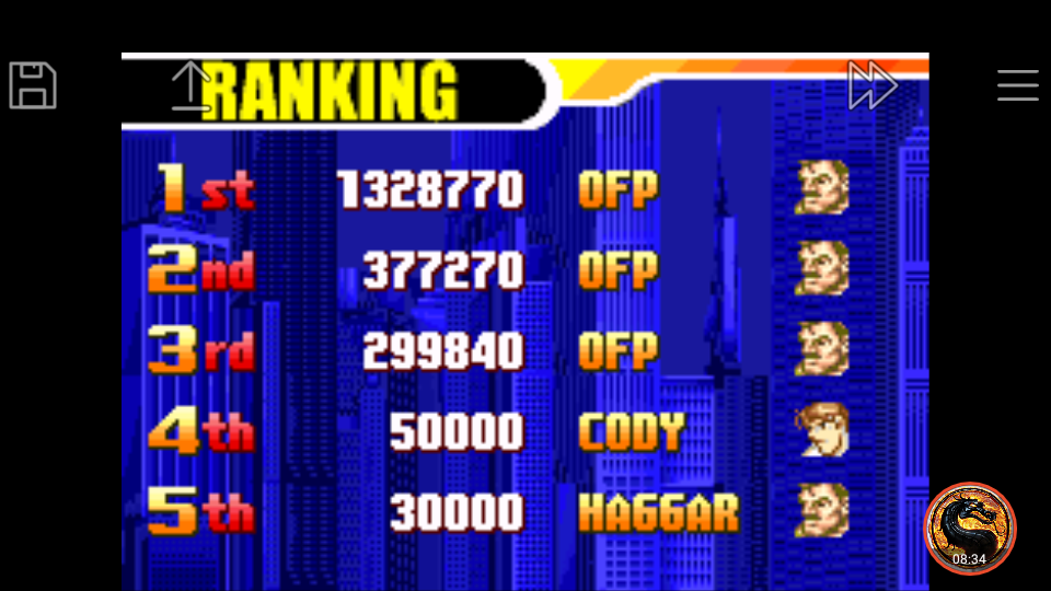 omargeddon: Final Fight One [Hard] (GBA Emulated) 299,840 points on 2019-05-20 20:32:53