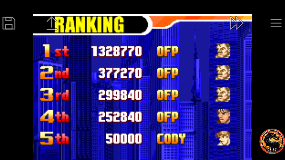 omargeddon: Final Fight One [Very Hard] (GBA Emulated) 252,840 points on 2019-05-20 20:33:28