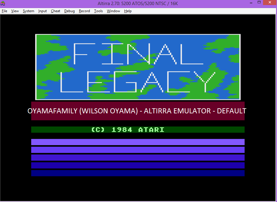 oyamafamily: Final Legacy (Atari 5200 Emulated) 4,150 points on 2016-04-23 20:01:31