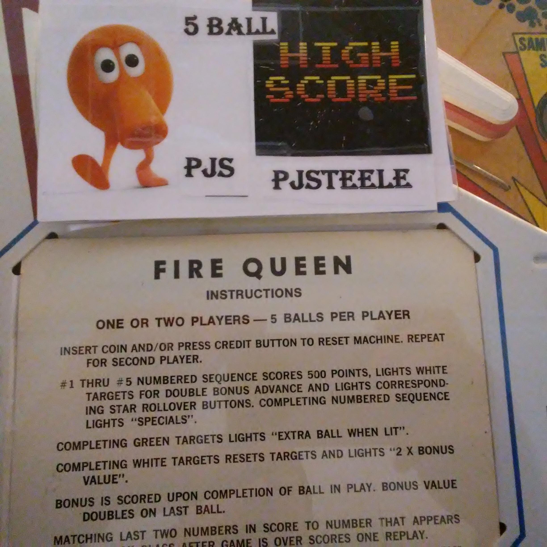 Pjsteele: Fire Queen (Pinball: 5 Balls) 18,640 points on 2018-03-04 07:53:46