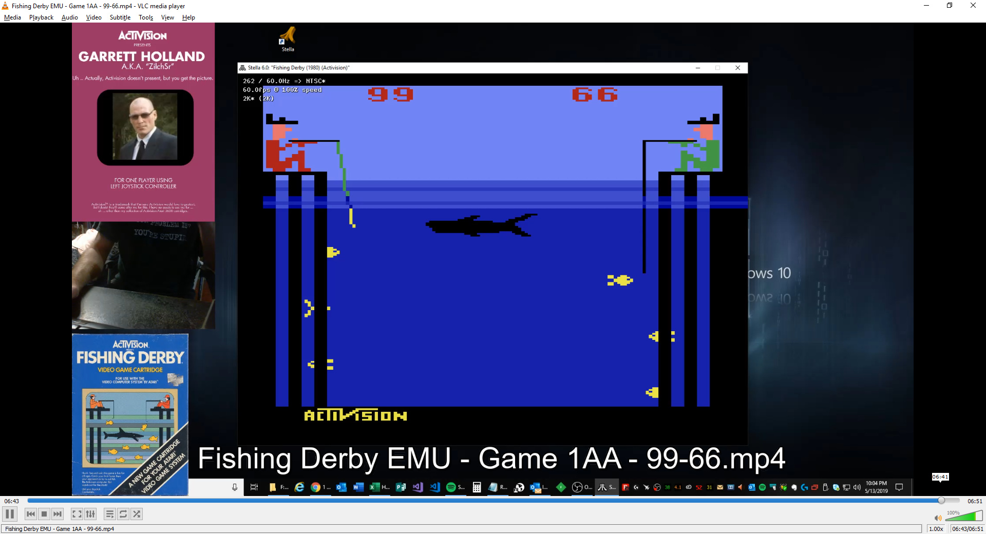 ZilchSr: Fishing Derby [Points Difference] (Atari 2600 Emulated Expert/A Mode) 33 points on 2019-05-13 21:27:35