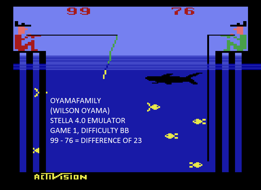 oyamafamily: Fishing Derby [Points Difference] (Atari 2600 Emulated Novice/B Mode) 23 points on 2015-08-03 18:58:10