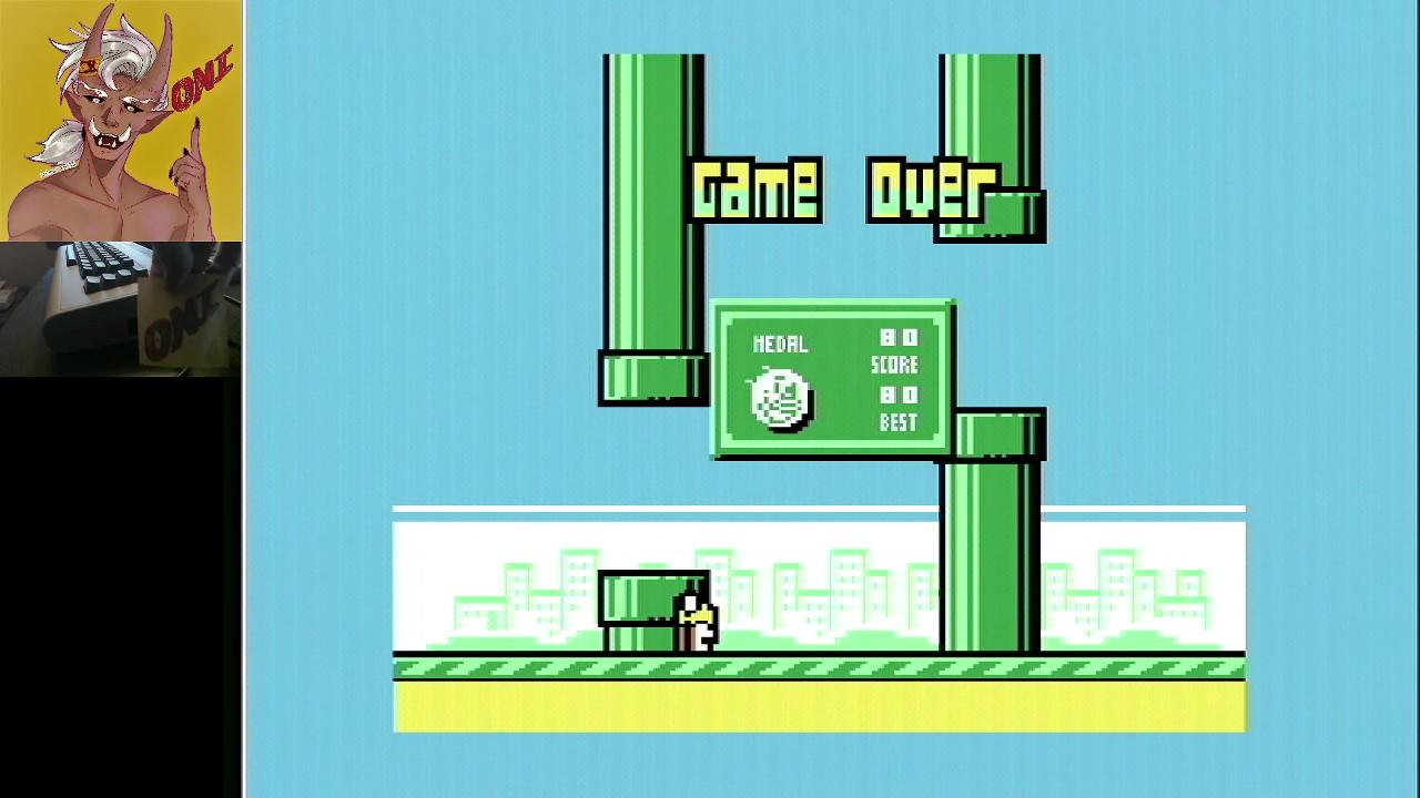 OniDensetsu: Flappy Bird (Commodore 64) 80 points on 2021-02-05 02:54:12