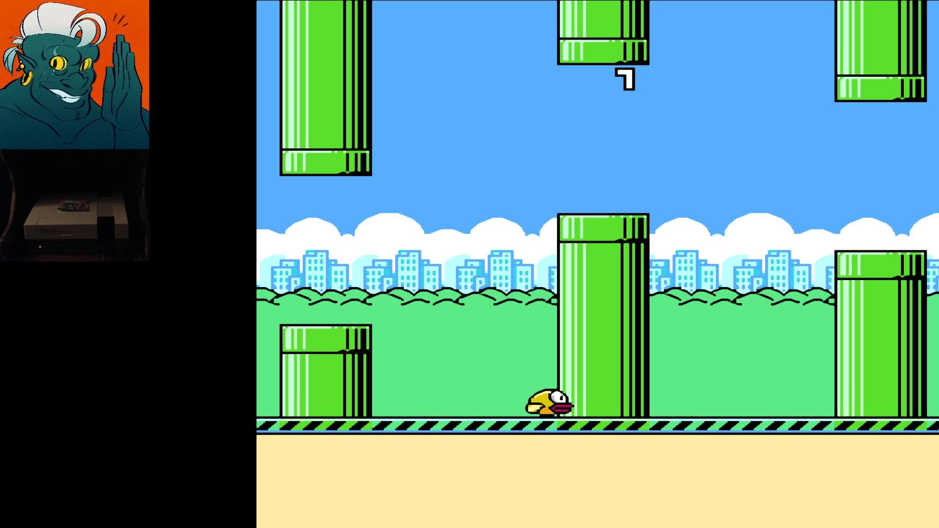 AwesomeOgre: Flappy Bird (NES/Famicom) 7 points on 2019-11-05 22:48:13