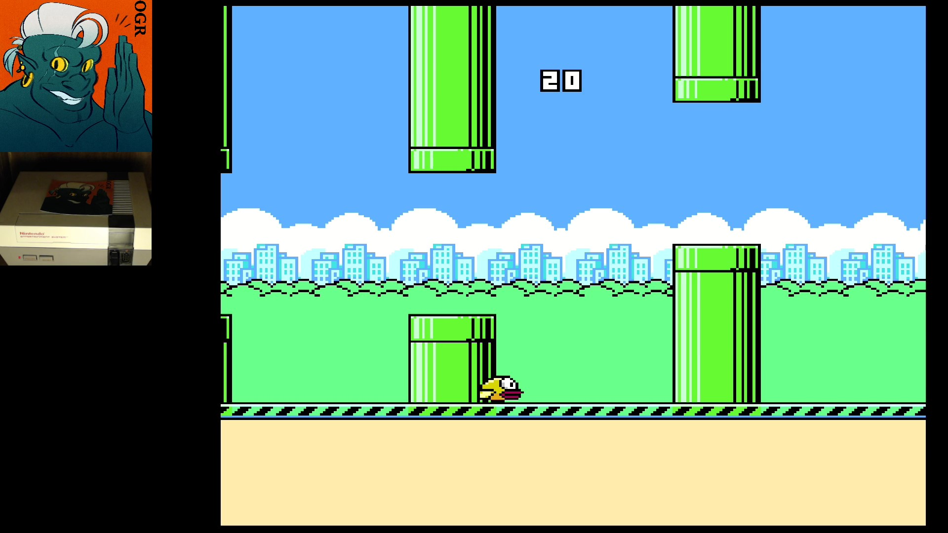 AwesomeOgre: Flappy Bird (NES/Famicom) 20 points on 2020-03-05 10:28:31