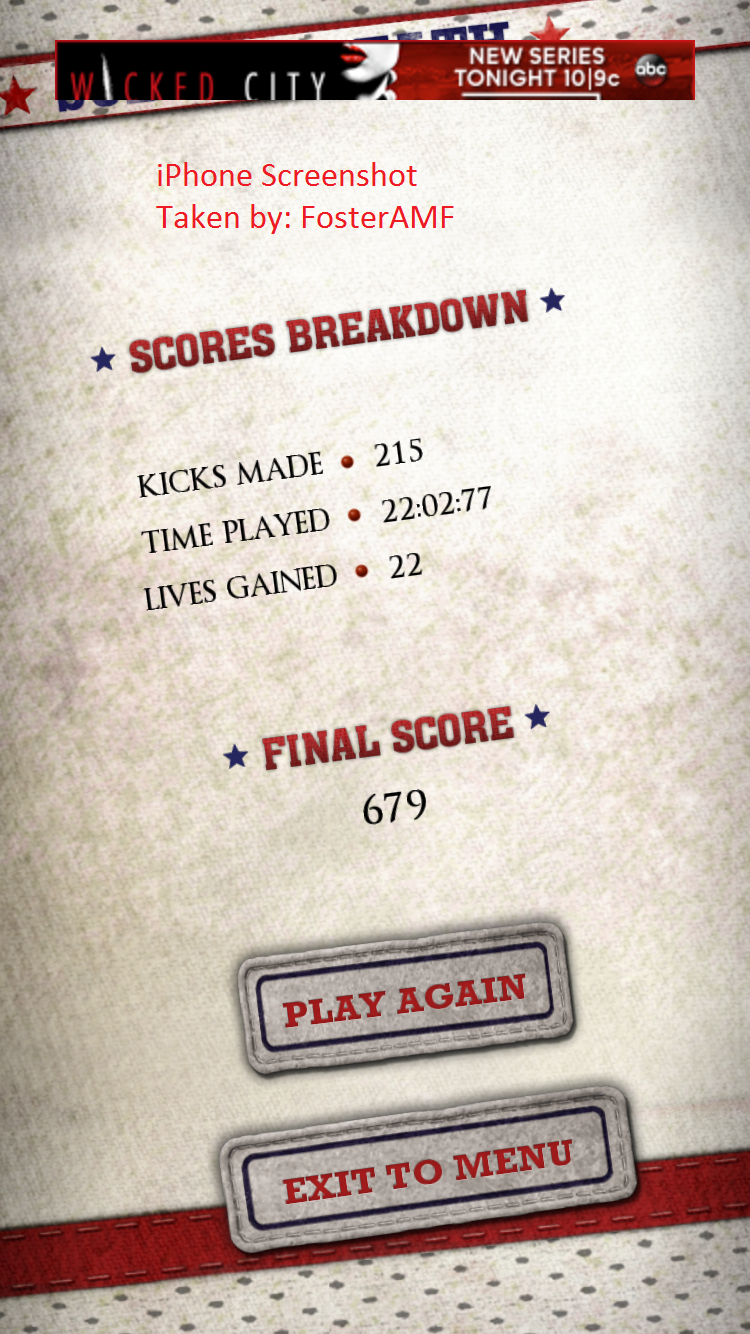 FosterAMF: Flick Kick Field Goal Kickoff: Sudden Death [Points] (iOS) 679 points on 2015-10-28 01:43:18