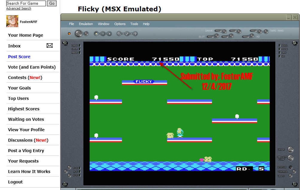 FosterAMF: Flicky (MSX Emulated) 71,550 points on 2017-12-04 12:41:05