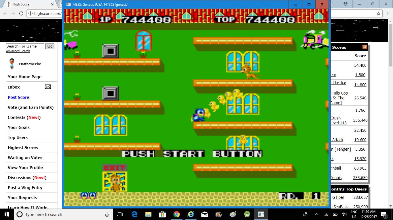 MatthewFelix: Flicky (Sega Genesis / MegaDrive Emulated) 744,400 points on 2018-02-23 13:21:51