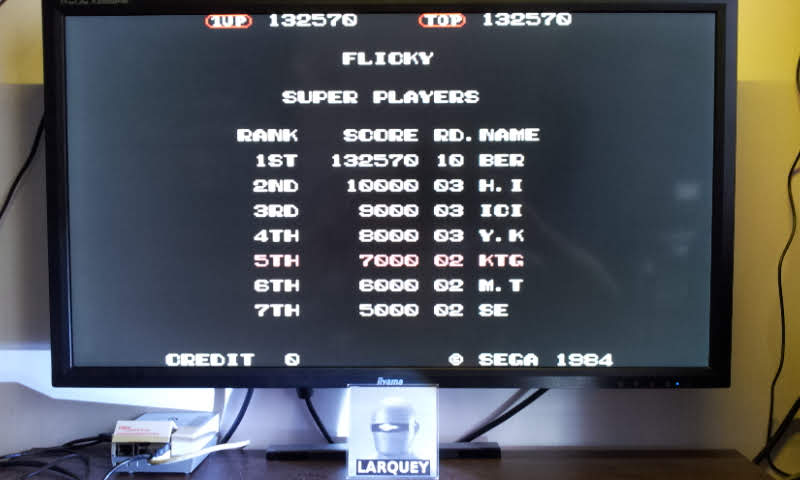 Larquey: Flicky [flicky] (Arcade Emulated / M.A.M.E.) 132,570 points on 2018-07-10 09:52:05