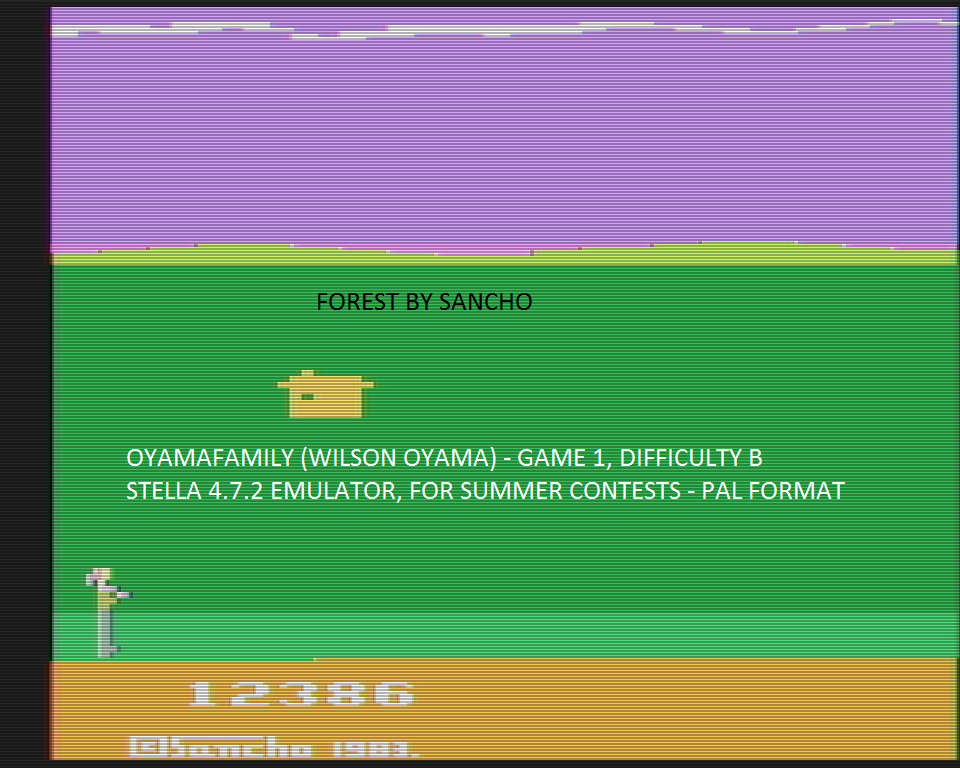 oyamafamily: Forest (Atari 2600 Emulated Novice/B Mode) 12,386 points on 2016-08-03 20:59:17