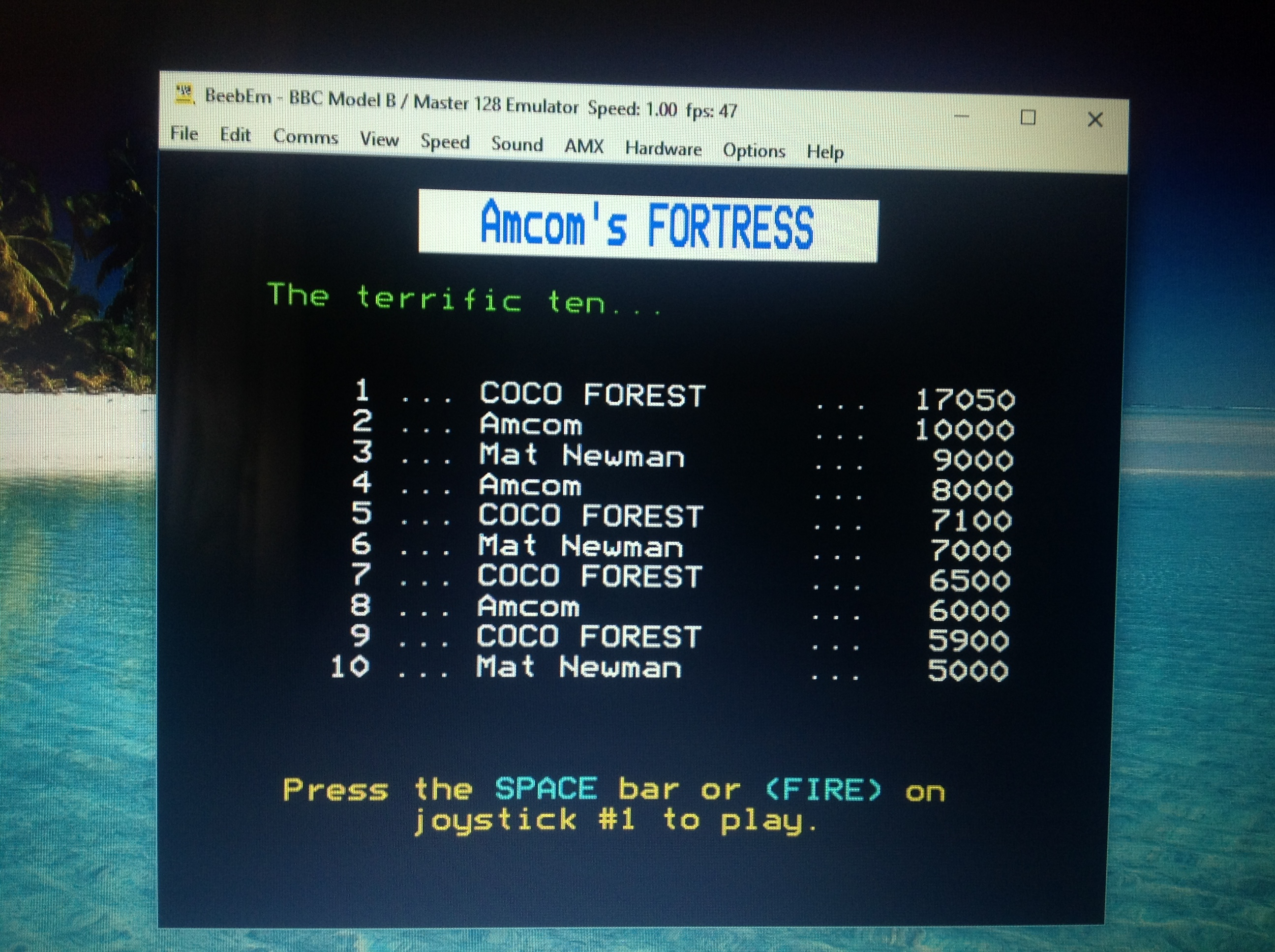 CoCoForest: Fortress (BBC Micro Emulated) 17,050 points on 2017-08-04 14:25:54
