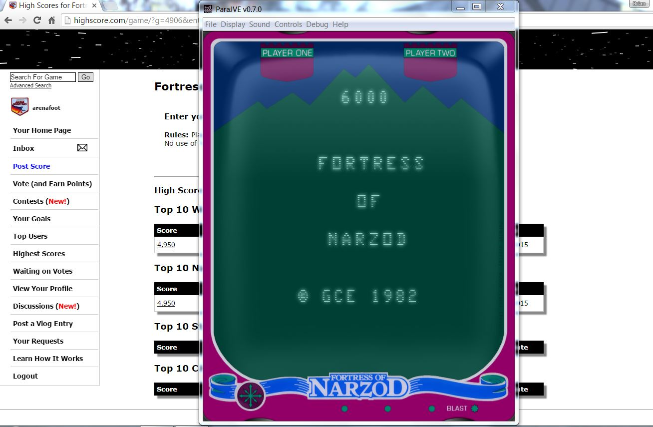 arenafoot: Fortress Of Narzod (Vectrex Emulated) 6,000 points on 2016-06-14 17:01:03