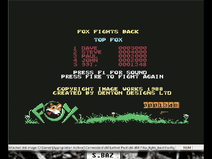 S.BAZ: Fox Fights Back (Commodore 64 Emulated) 1,348 points on 2016-05-28 16:08:42