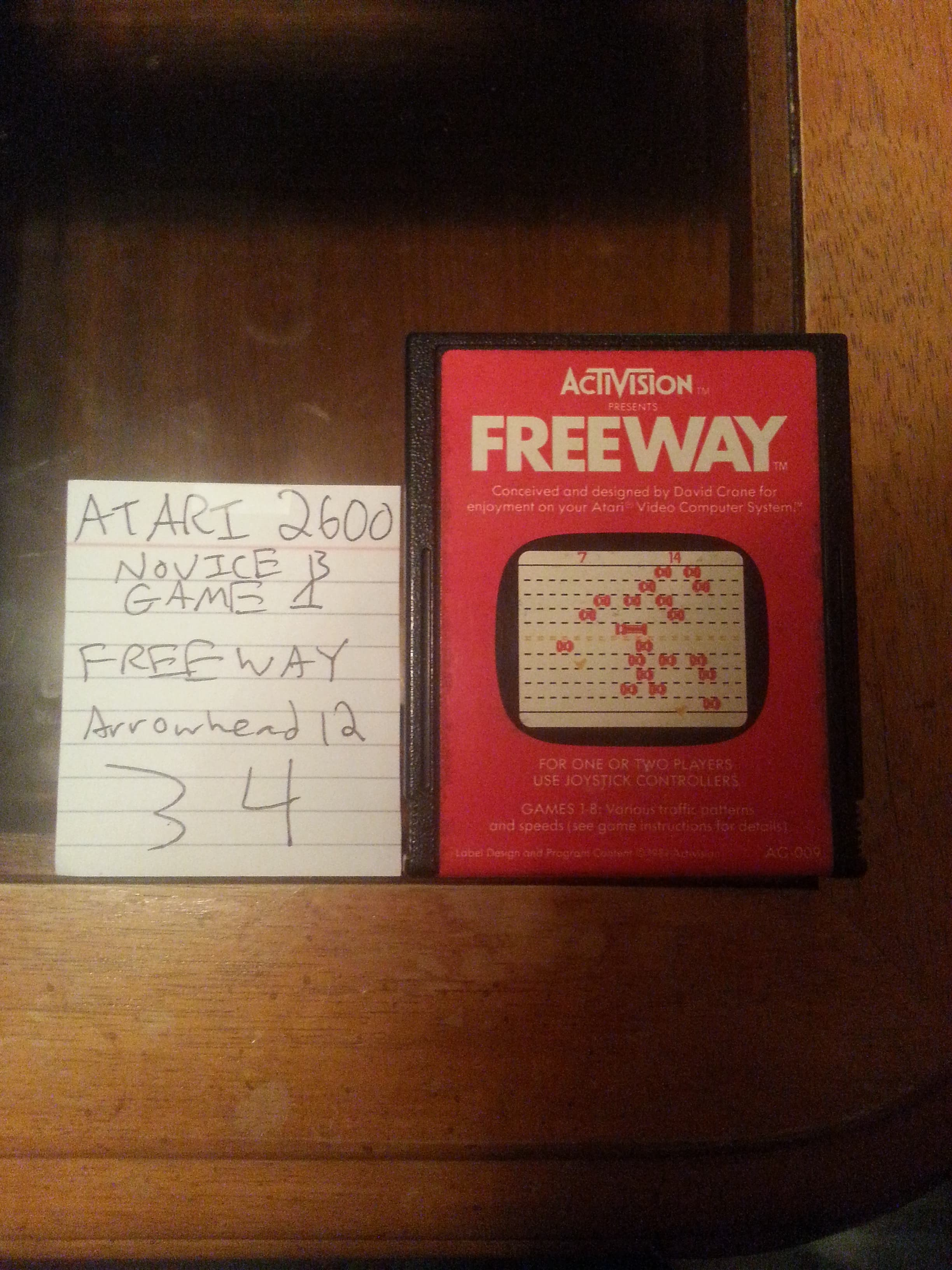 Arrowhead12: Freeway: Game 1 (Atari 2600 Novice/B) 34 points on 2018-10-02 02:39:41