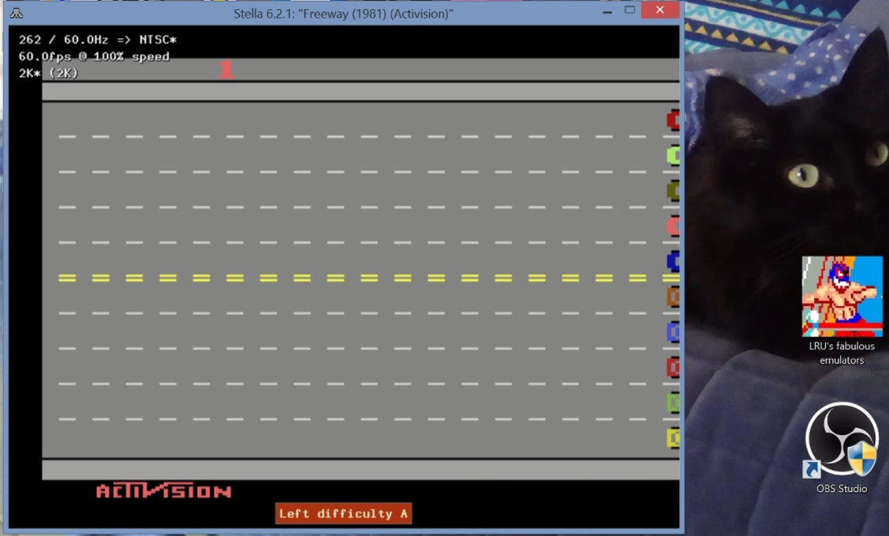 LuigiRuffolo: Freeway: Game 1 (Atari 2600 Emulated Expert/A Mode) 38 points on 2020-12-24 14:48:43