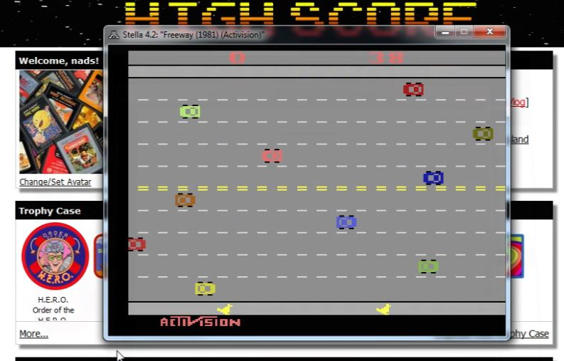 nads: Freeway: Game 1 (Atari 2600 Emulated Expert/A Mode) 38 points on 2015-12-26 15:21:02