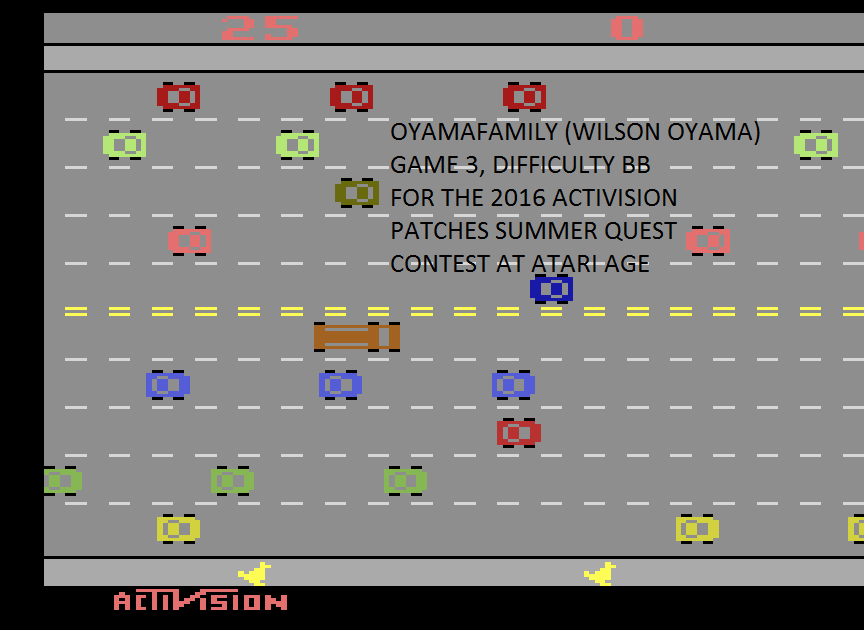 oyamafamily: Freeway: Game 3 (Atari 2600 Emulated Novice/B Mode) 25 points on 2016-07-03 18:51:44