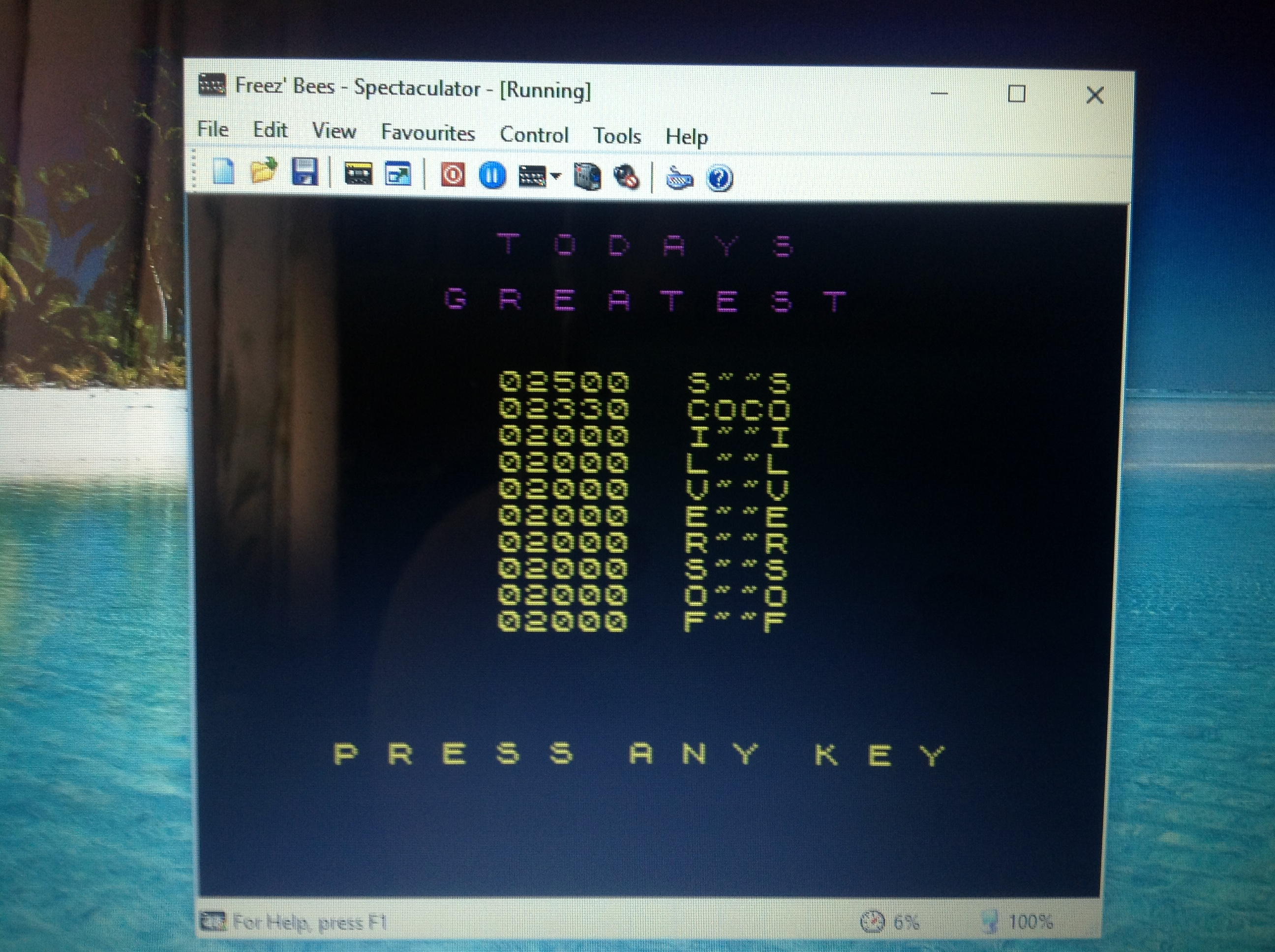 CoCoForest: Freez Bees (ZX Spectrum Emulated) 2,330 points on 2017-08-07 10:51:19