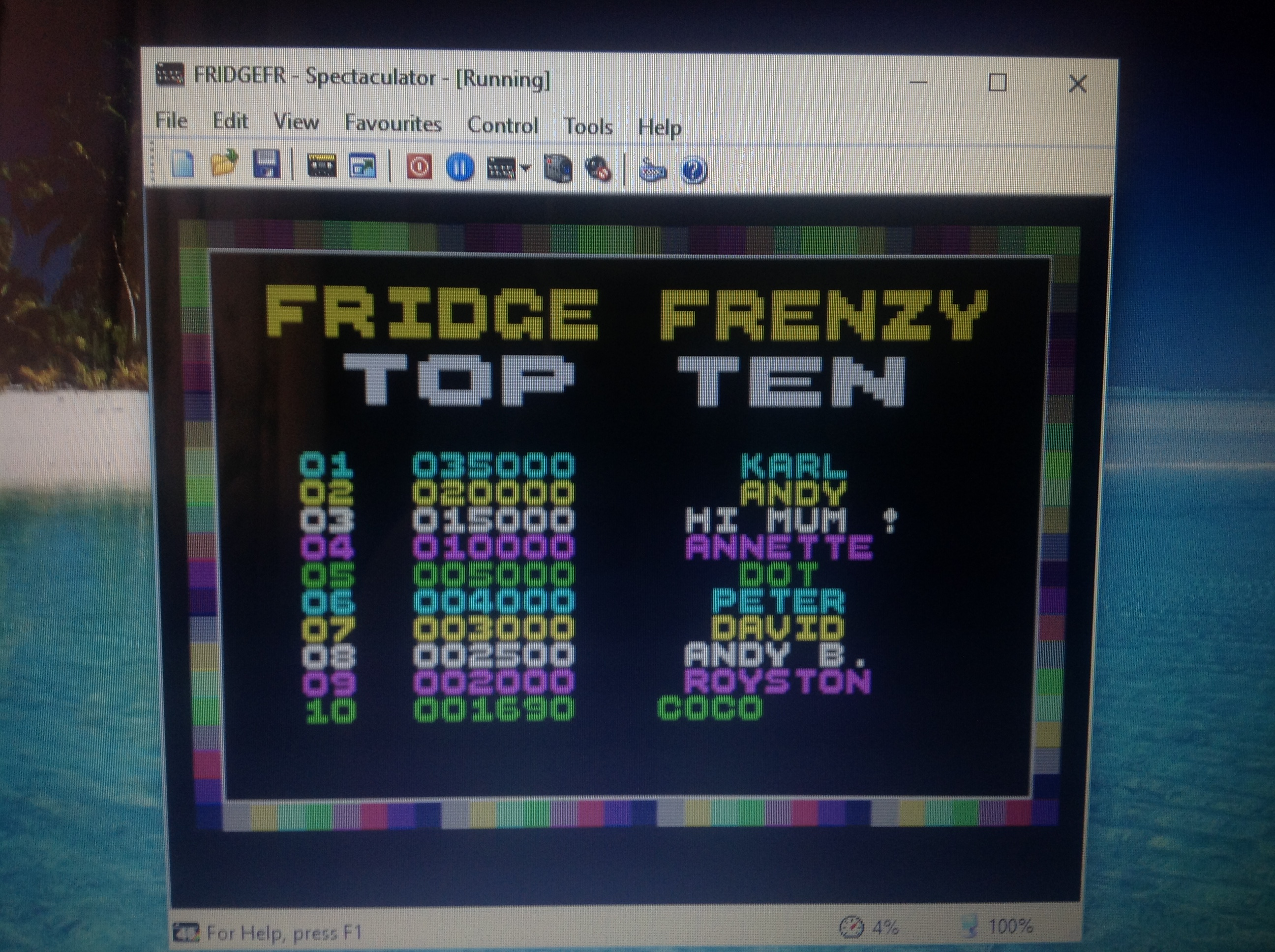 CoCoForest: Fridge Frenzy (ZX Spectrum Emulated) 1,690 points on 2017-08-07 11:36:10
