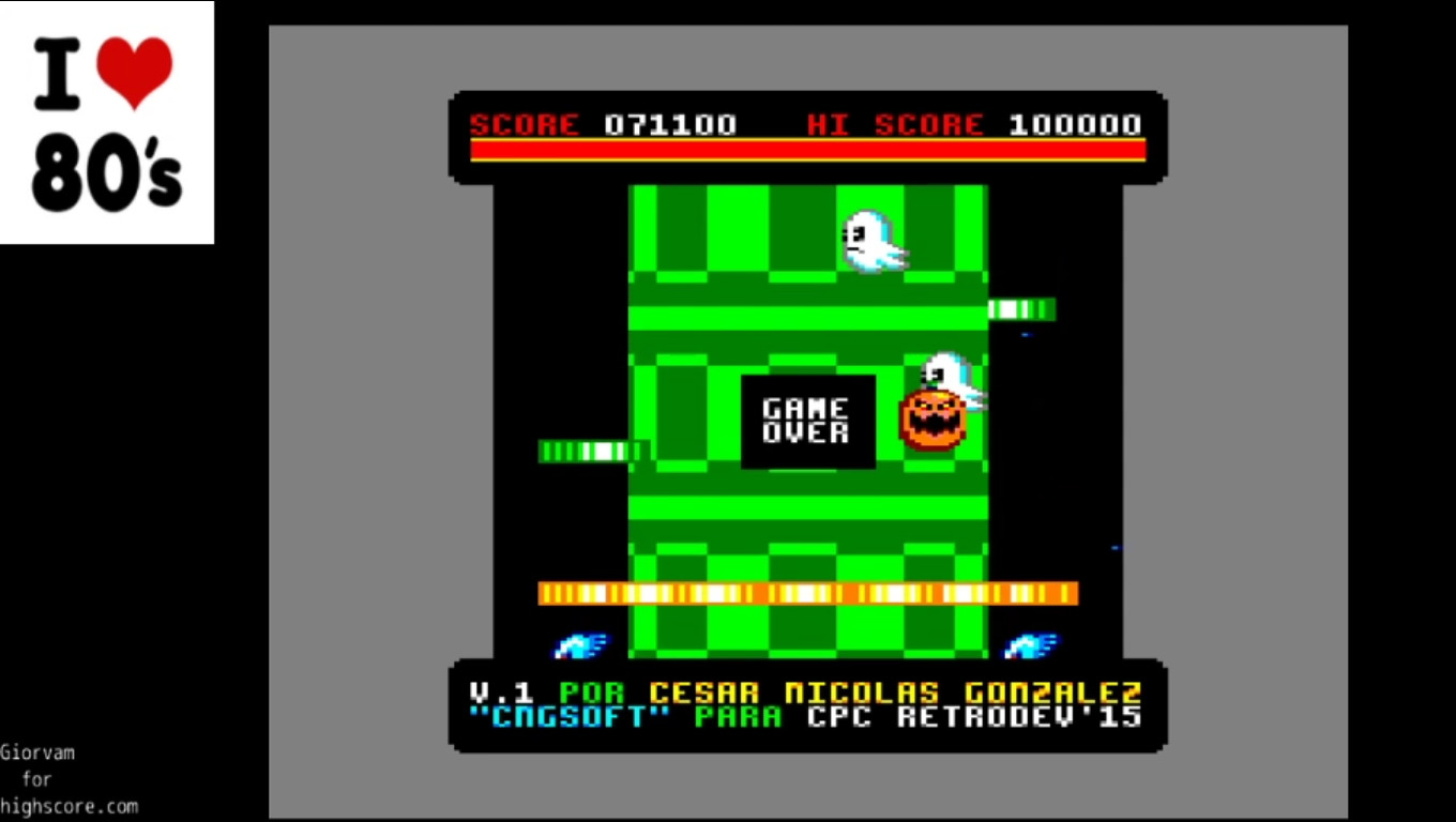 Giorvam: Frogalot (Amstrad CPC Emulated) 71,100 points on 2020-01-09 04:00:35